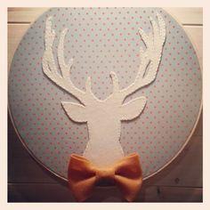 Deer silhouette embroidery hoop, Boys nursery decor, Kids playroom decor, Animal themed room, Fall wall hanging, Christmas wall hanging