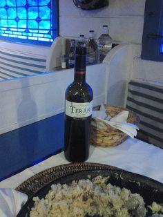 Arroz meloso con pulpo y gambas regado con Marqués de Terán Crianza. Rest. La Mar del Medio (Oviedo)