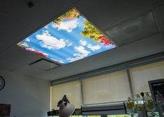 Hospital Critical Care Unit in Irvine, CA - Day at the Park Sky Mural - Fluorescent Light Cover
