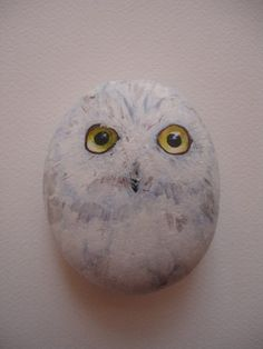 Handpainted sea stone!  Owls make a  great theme!