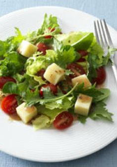 Simple Balsamic Salad for Two – Our bright balsamic-mozzarella salad with grape tomatoes is a work of art. The fact that it's a Healthy Living recipe makes it a true masterpiece.