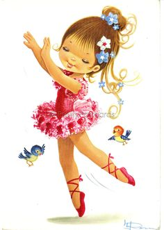 I had this dancer in one of my ballet books from or vintage illustration, ballerina Vintage Pictures, Vintage Images, Vintage Cards, Vintage Postcards, 50s Vintage, Cute Images, Cute Pictures, Vintage Illustration, Illustration Children