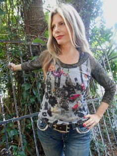 Alberto Makali Designer LUXE Shirt Top Sweater M Exotic Floral Colorful Pattern #AlbertoMakali #KnitTop #Casual
