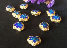 Top Qiality Blue flower wiry enamel craft gilding jewelry beads, gilding blue flower beads, good for DIY jewelry,17mm by ForDIYsupplies on Etsy