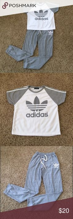 Adidas Outfit Never been worn • Adidas look a like • fit women size 0-4 • set include Crop top and sweat pant. Adidas Tops