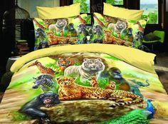 Animal World Yellow Bedding Duvet Cover Set