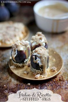 ricotta stuffed figs with a halva sauce made from silan (date syrup) and tahini!