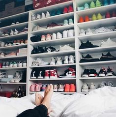Mega Sneaker Collection for the ladies . from Nike to adidas is all there! How do you store your sneakers? pic by Janice Helsoe Sneaker Collection, Shoe Collection, Shoe Room, Shoe Closet, Shoe Wall, Closet Small, Men Closet, Cute Shoes, On Shoes