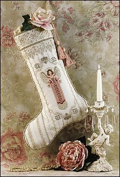Just Nan Angel Stocking - Cross Stitch Pattern. Model stitched on 28 Ct. Antique White Cashel linen with DMC floss, Kreink #4 Braid, DMC Pearl Cotton and Mill H