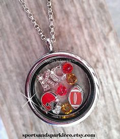 KC Chiefs ~ Sports Team, Collegiate Floating Keepsake Glass Locket with Your Choice of Charms, Hearts, Dangles and More.  www.facebook.com/sportsandsparkle