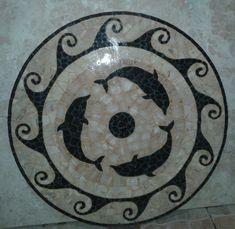 Tampo de mesa-Mosaico de pedras naturais