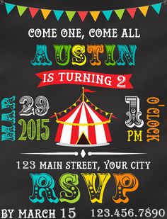 Circus Carnival One Two First or Any Birthday for Boy - Birthday Invitation - by SquishyDesignsbyMe on Etsy