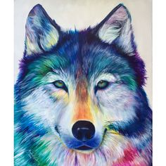 Colorful Timber Wolf Modern Acrylic Painting on Canvas ($580) ❤ liked on Polyvore featuring home, home decor, wall art, colorful wall art, acrylic wall art, stretched canvas, wooden wall art and acrylic canvas painting