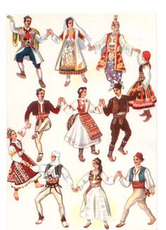 Yugoslav national costumes European American, European History, Serbian Wedding, Serbia And Montenegro, Costumes Around The World, Borders For Paper, Doll Costume, Bulgarian, Bosnia