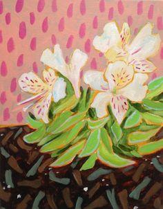 "Artist Amy Hartelust flower painting ""Fabiana"" 11x14 acrylic on canvas"