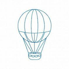 Hot Air Balloon Linework