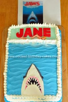 Homemade Shark Birthday Cake: I made this shark birthday cake for my 26 year old sister in law, Jane who loves the Jaws movies. I used the Jaws movie poster as my inspiration, but put