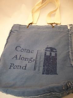 US $24 Come Along Pond Raggedy Edge Blue Canvas Shoulder Bag