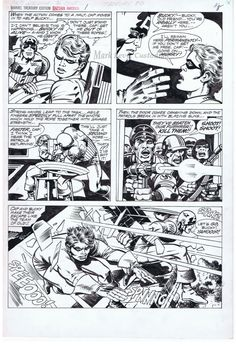 Kirby / Smith - Captain America Bicentennial Treasury p8 BWS Comic Art