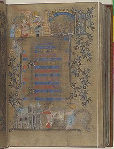 Book of Hours, Use of Paris ('The Hours of Yolande of Flanders') Attributed to Jean le Noir or Bourgot, his daughter.   This manuscript is related to several royal books of hours connected with the hands of Jean le Noir and his daugther, Bourgot, including the Hours of Jeanne de Navarre, Yolande's mother-in-law (Paris, Bibliothèque nationale, nouv. acq. lat. 3145) and the Hours of Bonne of Luxembourg (New York, Cloisters, MS 69.86).  Calender Page for f2