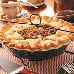 Pear Praline Pie Recipe -This pie is good served warm or at room temperature. We like it with scoops of vanilla ice cream or thick whipped cream on top. It's great with any meal, or on its own with a cup of coffee or glass of milk as a treat.