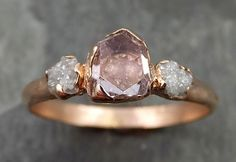 Raw Rough and partially Faceted Pink Topaz Diamond 14k rose Gold Ring One Of a Kind Gemstone Ring Recycled gold byAngeline 0504