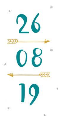 Trouwkaart met groot de datum en hippe pijlen.