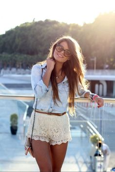 chambray top and lace shorts