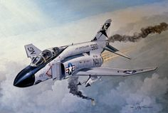 """The ill-fated F-4J of Randy Cunninham and Willie Driscoll. They got their fifth Mig kill in this airplane, but were shot down by a SAM shortly thereafter."""