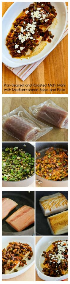 A reader sent me this recipe for Pan-Seared and Roasted Mahi Mahi with Mediterranean Salsa and Feta, and it was a complete winner!  This easy, quick, and delicious dinner is low-carb, gluten-free, and if you omit the Feta it can easily be Paleo.  [from KalynsKitchen.com]