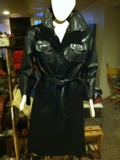 Suburban Heritage RETRO BLACK LEATHER BELTED TRENCH SPY COAT Size 10