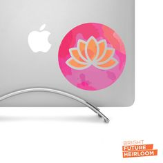 Watercolor Lotus Badge 04 - Printed vinyl decal - Perfect for laptops tablets cars trucks SUVs and more! by BrightFutureHeirloom