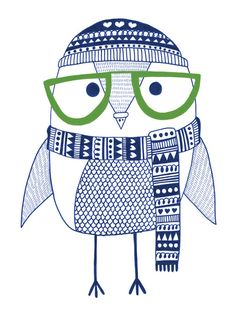'Hipster Owl' by Heidi Suul  this matches my hipster cat and / but it doesn't look much like an owl to me  ldt