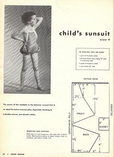 P1 of instructions to sew a child's sunsuit, from Smart Sewing, Sixth Edition, 1953.