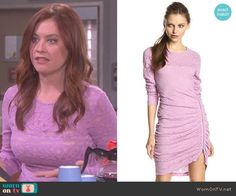 Serena's purple long sleeved lace dress on Days of Our Lives.  Outfit Details: http://wornontv.net/49294/ #DaysofourLives