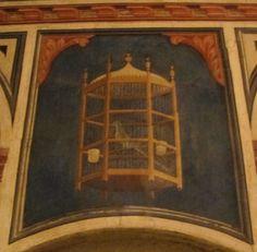 Gentile da Fabriano e bottega - Gabbietta con pappagallo - Ponte sospeso - ciclo di affreschi frammentario - 1411-1412 - Palazzo Trinci a Foligno