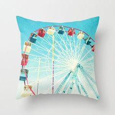 Throw Pillows Hostess Gift // Nursery Decor, Throw Pillows Ferris Wheel, Carnival Rides, Art Pillows, Red White and Blue