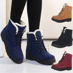Buy Ankle Snow Boots Stylish Winter Shoes High-top Boots British Style at Wish - Shopping Made Fun Ankle Snow Boots, Snow Boots Women, Lace Up Boots, Ugg Boots, Short Winter Boots, Winter Shoes, Short Boots, High Tops, High Top Boots