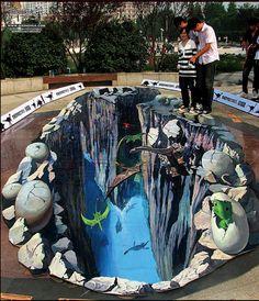 3D jurassic canyon street painting by qi xinghua