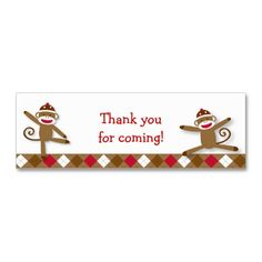 Silly Sock Monkey Goodie Bag Tags Business Card Templates