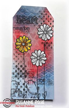 Susanne Rose - Papierkleckse: Mixed Media Tag with STAMPlorations and PanPastels.