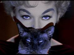 """Kim Novak and Pyewhacket in """"Bell Book and Candle"""" (1958)"""
