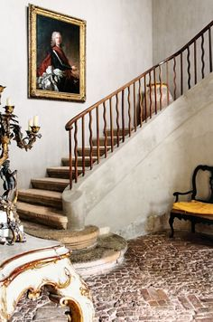 The original stone staircase, old master house in Provence, France.