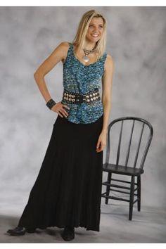 Roper Slub Jersey Pieced Flounced Skirt Studio West- Shangri-la Skirts Urban