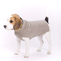 "Cable Cashmere Dog Pullover Fossil 10"" - Mungo & Maud Dog and Cat Outfitters"