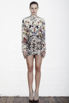 Sara Phillips Bindi Mini Skirt in Croc Silk