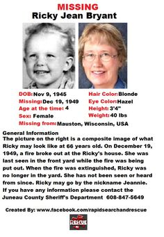 """Current Missing Person flyers from Wisconsin in the 1940s To assist with Amber Alerts and missing person cases through flyer and picture sharing on Facebook please """"Like"""" Rapid Search and Rescue on Facebook: facebook.com/RapidsSAR Follow us on twitter also @Rapid_SAR"""