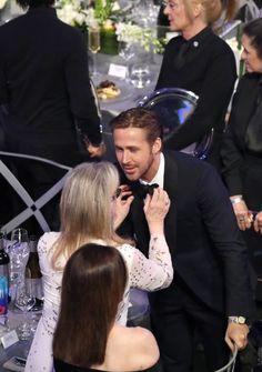 Ryan Gosling Was Totally Momd By Meryl Streep at the SAG Awards via Brit + Co Sag Awards, Awards 2017, Ryan Gosling, Meryl Streep, Bella, Cute Couples, Candid, Actors & Actresses, Sexy