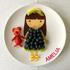 blueberries, kiwi, mango and a strawberry bear