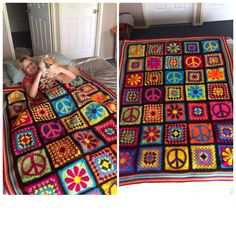 Crochet Groovyghan, hippy afghan, blanket, daisies, peace sign. I've had the most fun planning out the colours on this one. Most loved blanket I done so far